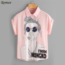 ROMWE Girl Print Chiffon Shirt Cute Button Up Cuffed Blouse Women Pink Summer Tops 2017 Fashion Casual Cap Sleeve Lapel Blouse(China)