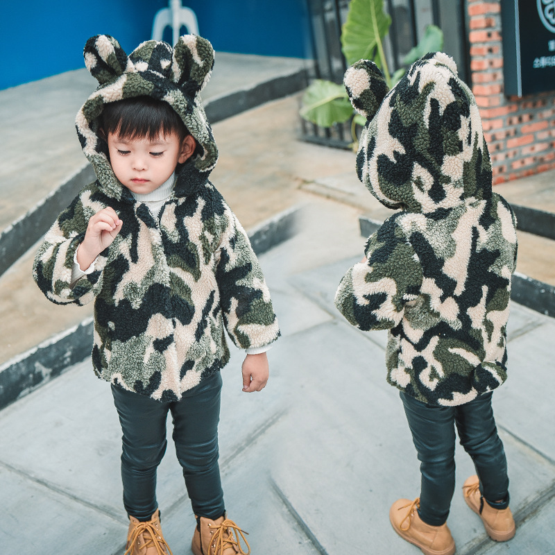LSK374 Baby Girls Coat Fleeced Camouflage Kids Winter Jacket Green Toddler Winter Coat 2017 Brand New Outerwear Boys Clothes<br>