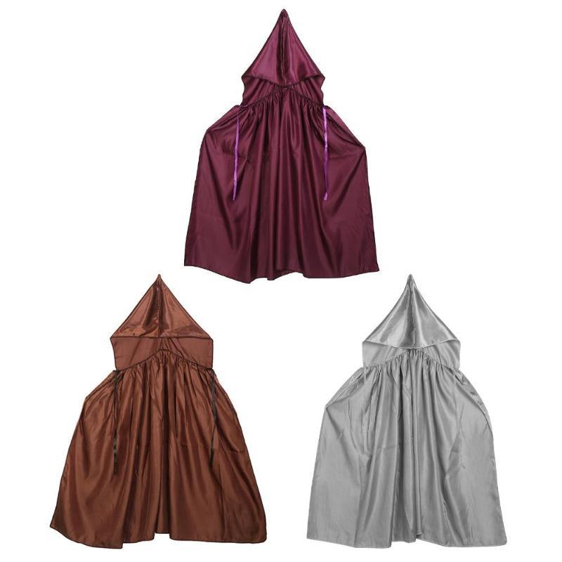 Kids Girls Boys Hooded Velvet Cape Cloak Halloween Fancy Dress Robe Costume SML
