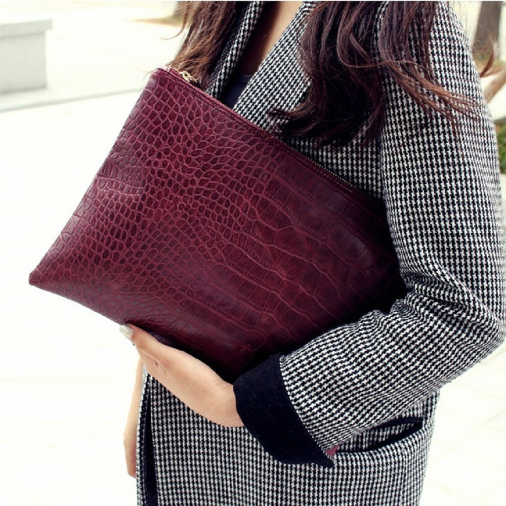 Fashion solid color leather women envelope bag clutch evening bag crocodile grain womens clutch bag female Clutches Handbag<br><br>Aliexpress