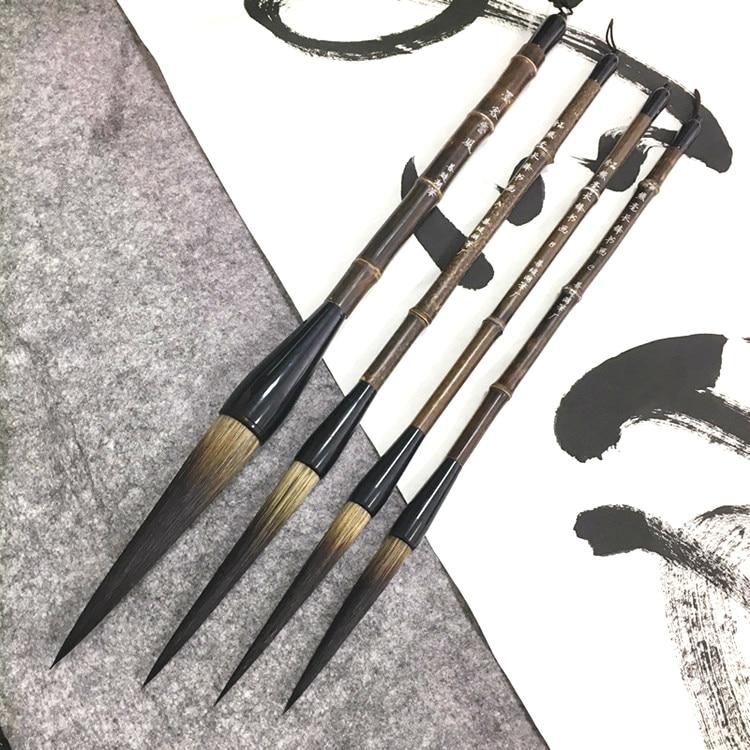 High Quality Super Long Calligraphy Pen Brush Set Natural Bamboo Penholder Cursive Regular Script Couplets Writing Brushes 4pcs<br>