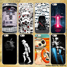 ETFC-303 Darth Vader Star Wars film series design hard transparent clear Cover Case for Apple iPhone 7 6 6s Plus SE 4s 5s 5c