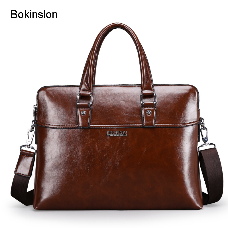 Bokinslon Men Handbag Bags PU Leather Popular Man Shoulder Bags Fashion Casual Male Business Bags High Quality<br>