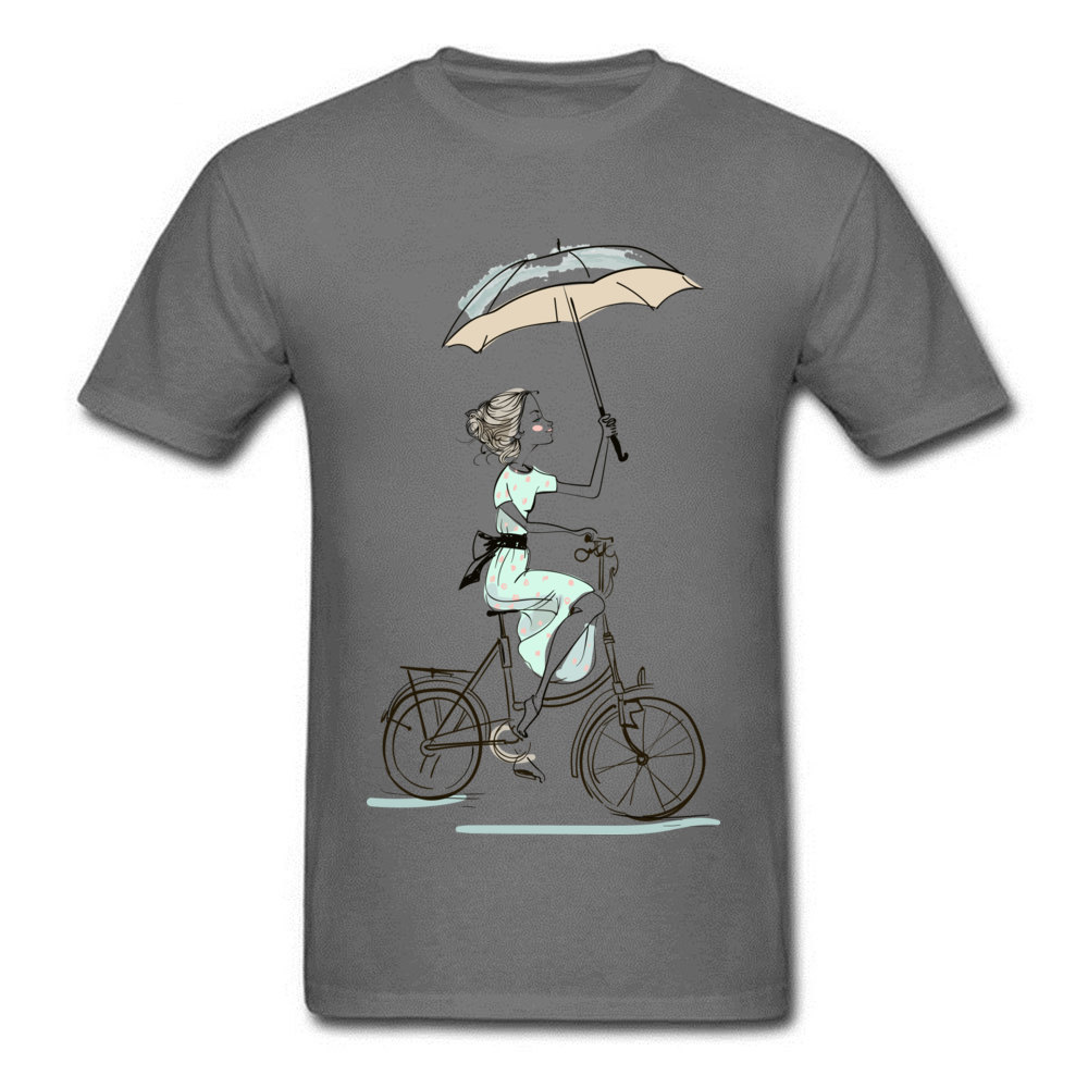 umbrellas girl riding a bicycle Fitted Men T Shirts Crewneck Short Sleeve All Cotton Tops & Tees Fitness Tight Tees umbrellas girl riding a bicycle carbon