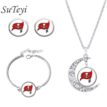 SUTEYI Denver Broncos team american football rugby mustang helmet earrings bracelet necklace set jewelry Friends birthday gifts