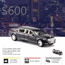 NEW 1:24 Scale S600 Pullman Guard Vehicle Metal Alloy Model, Sound & Light Pull Back Diecast Car 6 Doors Opened