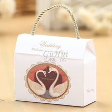 25pcs White Wedding High Quality Swan Design Handbag Paper Wedding Candy Box White Swan Birthday Party Decoration Craft Gift Bag