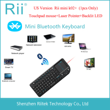 Rii mini K02+ Wireless Bluetooth Keyboard Touchpad mouse Laser Pointer Backlit LED Combo PC Teclado for Andorid/Smart TV Box(China)