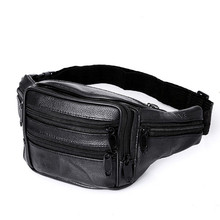 Genuine Leather Men's Multifunction Waist Packs Fanny Pack Belt Bag Phone Pouch Bags Leather Travel Waist Pack Male Waist Bag(China)