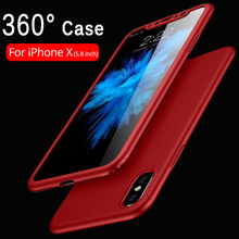 Buy 2018 Hybrid Armor 360 Case Cover iPhone X 10 8 7 6s Plus Full Body Phone Case Hard Matte Plastic Slim Cover +Tempered Glass for $2.55 in AliExpress store