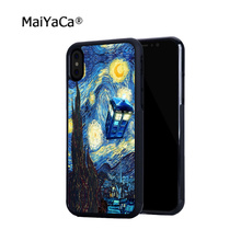 tardis doctor who starry night gogh soft hard skin cell phone cases for iphone x 5c 5s se 6s 6plus 7 7plus 8 8plus cover case(China)