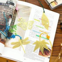 Vintage Gold Metal Bookmark Marque Page Kawaii Leaf Book Markers For Books Stationery Gift School Supplies Free shipping 734(China)