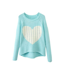 Winter Pullover Women Sweaters Elegant Heart Pattern Pullover O neck Long Sleeve Knitwear Stylish Casual Knitted Sweater