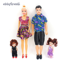 4Pcs/Set Doll Family Ken Prince Baby Doll Removable Joint Happy Family Pack Boyfriend Toy Playmate For Kid Xmas Girl Toy