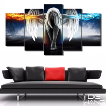 5 Piece Canvas Art Printed Angeles Girls Anime Demons Painting Canvas Print Room Decor Print Poster Oil Painting By Numbers