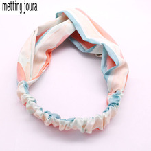 Metting Joura Holiday Bohemian Mixed color gradual Striped Cross Headband Elastic Pink Hairband Hair Accessories