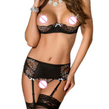 ROC80319 Plus Size Adult Lingerie 3 Pieces Open Cup Bra Set with Garter Belt Sex Product Sexy Lingerie Set new lingerie sexy hot