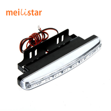 Free Shipping New Car styling 1Pcs Universal Car Daytime Running Lights 8 LED DRL Daylight Kit Super White 12V 12W DC Head Lamp