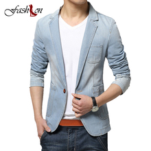 Men's Jeans Blue Blazer Turn-Down Collar Pockets Denim Coat Show Slim Casual Suits Brand Clothing Plus Large Size M-3XL