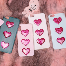 For Wiko Fever 4G Lenny 2 Pulp Rainbow 4G Sunny Pink Glitter Heart Mobile Phone Case Funda Cover Bag Housing Shell Skin Mask(China)