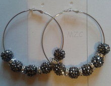 Min.$15 Mixed Order+Free Shipping+Free Gift. Gray Silver Plated Spacer Hoop Basketball Wives Drop Shamballa Earrings For Women.