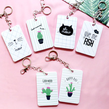 Cute Card Holder Women Cover Bag kids Cartoon Animal String Bus Name ID School Job Id Card Passport Holder Case With key bags(China)