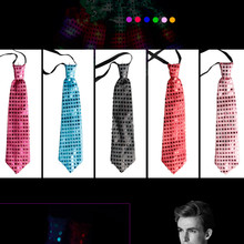 Wholesale 25pcs/lot fancy man led light up ties with battery, glowing in the dark stage performance necktie fashion dress
