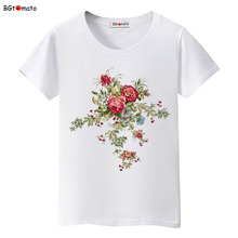 BGtomato Summer sun Chinese rose t-shirt Women Beautiful tees fashion personality shirts Good quality brand clothes casual tops(China)