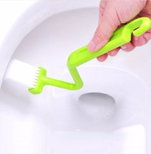 SDFC Hot Portable Toilet Brush Scrubber V-type Cleaner Clean Brush Bent Bowl Handle 11-546