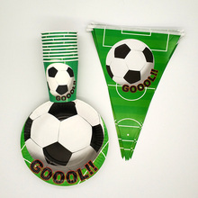 60Pcs kids Football Soccer Theme Party Tableware sets Disposable Papers Cups Plates flags Birthday Decoration supplies worldcup(China)