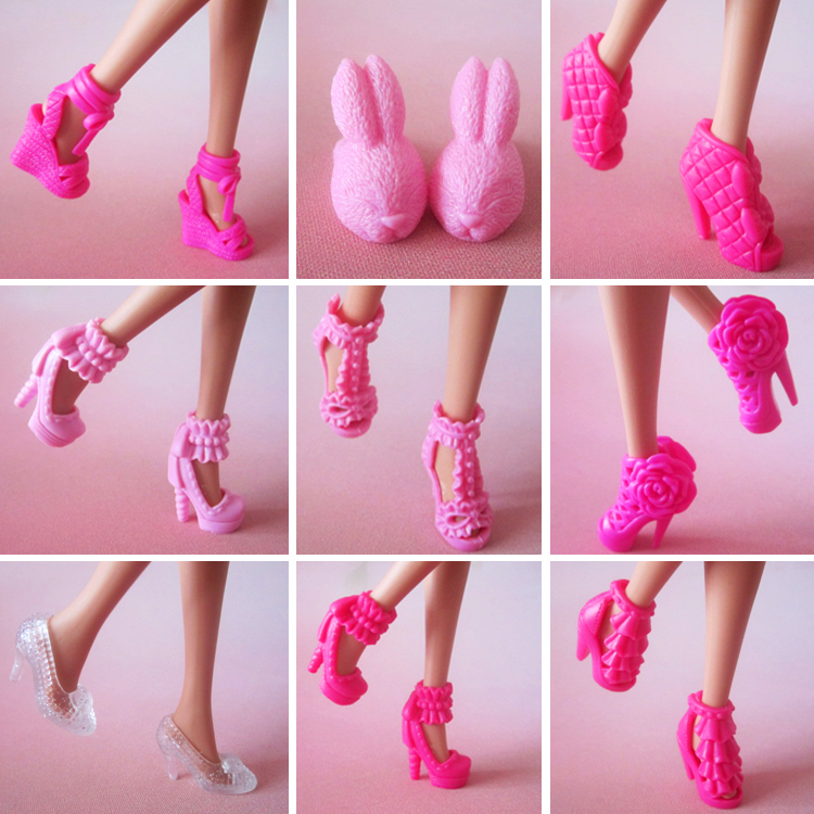 100 pair / lot New Fashion high quality Mix Style Mix Color High-heel Shoes for barbie Free shipping(China)