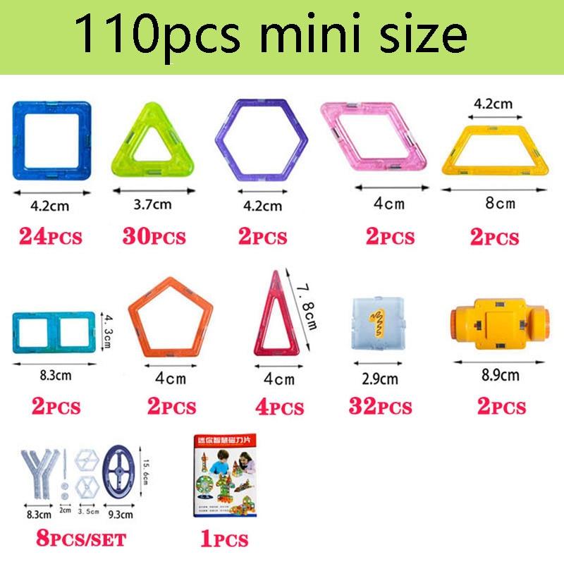 110pcs Mini Magnetic Designer Construction Set Model &amp; Building Toy Plastic Magnetic Blocks Educational Toys For Kids Gift<br>