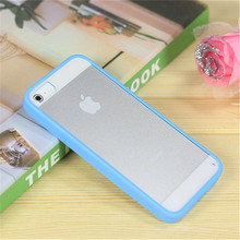 Candy Color Cell Phone Celular Case for iPhone 5S Cover Soft Clear Acrylic Back Silicone Frame Phone Case for Apple iPhone 5 SE(China)