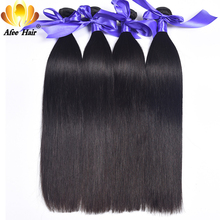 Ali Afee Brazilian Straight Human Hair 1Pc Only Natural Black Non Remy Hair Weave Bundles 8''-30'' Can Be Dyed And Bleached