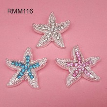23mm Metal Rhinestone Starfish Shank Embellishment Headband Supplies Flower Centers 30pcs RMM116