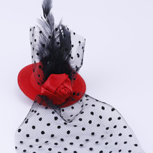 1Pcs Feather Mini Top Hat Rose Mesh Dots Hair Clip Veil Fascinator Wedding Red(China)