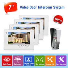 1v4 Video Door Phone System Wired Doorbell Camera Intercom Kit 7 Inch Color Display Monitor 800TVL Rainproof Outer Station