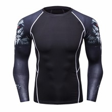 Men 3D Teen Wolf Compression Shirts Bodybuilding Skin Tight Long Sleeves Jerseys Clothings MMA Crossfit Exercise Workout Fitness