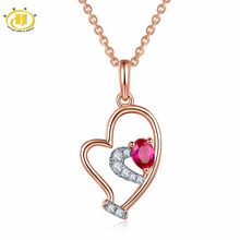 Hutang Solid 18K White Rose Natural Gemstone Ruby Diamonds Tiny Heart Pendant Necklace For Women Diamond-Jewelry Best Sell(China)