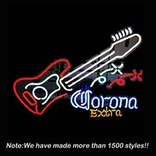 Corona Extra Guitar neon signs Business Handcrafted Real Glass Tube Neon Light Sign Beer Bar Pub Design 19''x15''