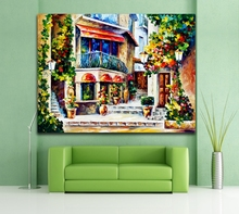 100% Hand-painted France Greece Italy European Cityscape Architecture Painting Unique Color Palette Art Home Wall Decor