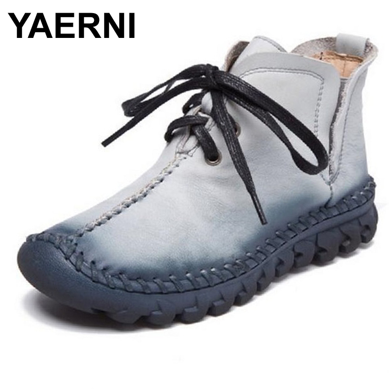 YAERNI  Women Boots Handmade Genuine Leather Soft Outsole Shoes Lacing UP Flat Ankle Boots For Women Size 35-40<br>