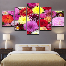 Canvas Wall Art Posters Home Decor Living Room Frame 5 Pieces Colorful Flowers Bloom Pictures HD Prints Dahlia Pinnata Paintings(China)