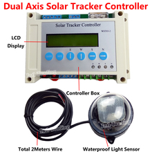 DC 12/24V Dual Axis Solar Tracking Tracker Electronic Controller for PV Solar Panel System Sun Track &Light Sensor &LCD Display