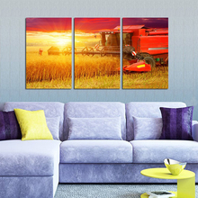 Farm Crops Harvest Wheat Golden Sun Diamond Painting 3pcs Full Round Diamond Embroidery Cross Stitch Needlework Wall Decor