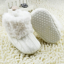 2017 Winter Warm Baby First Walkers Ankle Baby Girls Soft Cotton Knitted Man-made Fleece Winter Warm Snow Boots Crib Shoes(China)