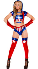 2016 New Faux Leather Superman Wonder Woman Costume Sexy  Dress Top+Pants Night Games DS Performance Clothing