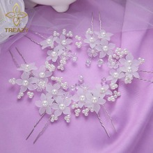 TREAZY 6pcs/lot Elegant Women Bridal Wedding Crystal Faux Pearl White Flower Hairpins Hair Clip Headpiece Wedding Accessories(China)
