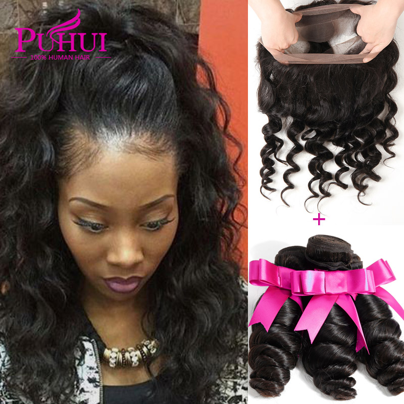 Loose Wave Frontal With Bundles 8a Unprocessed Brazilian Virgin Hair With Closure 360 Lace Frontal With Baby Hair and Bundles<br><br>Aliexpress