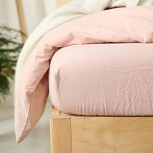 Hot sale light pink 100% water washed cotton home hotel mattress fitted sheet style comforter/duvet/quilt cover bedding set/3814(China)